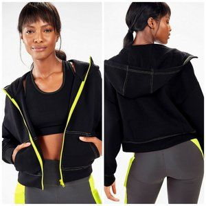 Fabletics Stacey Hooded Cropped Zip Up Jacket Sz S
